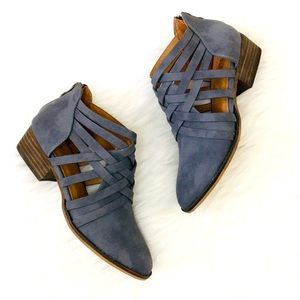 NEW! Aspen Smoke Blue Vegan Leather Strap Booties
